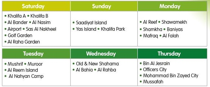 Delivery schedule in Abu Dhabi for Agthia