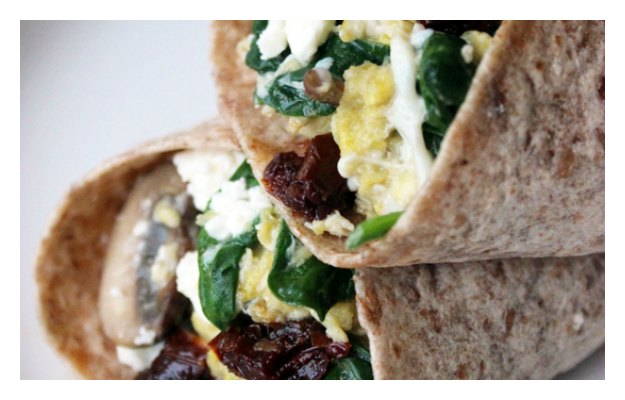 Spinach feta scrambled eggs wrap
