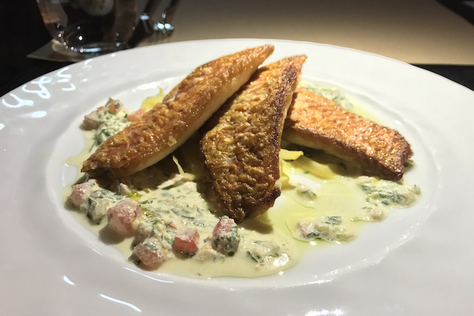 Pan Seared Red Mullet with Warm Tahini Salsa by Suzanne Husseini