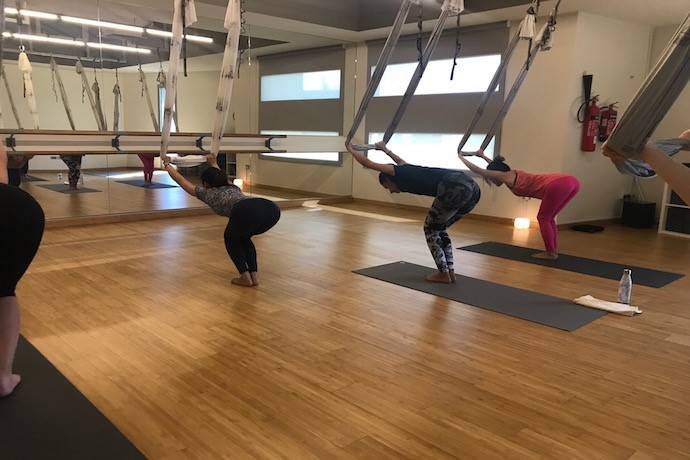 Antigravity yoga at yogaone studio in abu dhabi you can fine tune your body through these exercises that challenge the law of physics no matter your body type solutioingenieria Choice Image