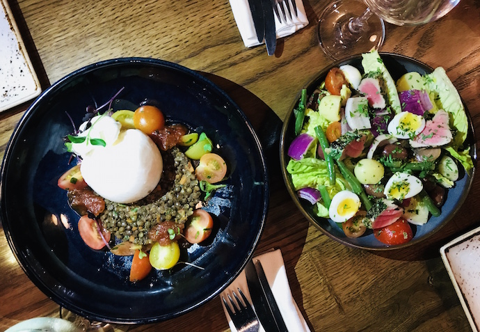 Lentil Salad with burrata at Bentley Kitchen