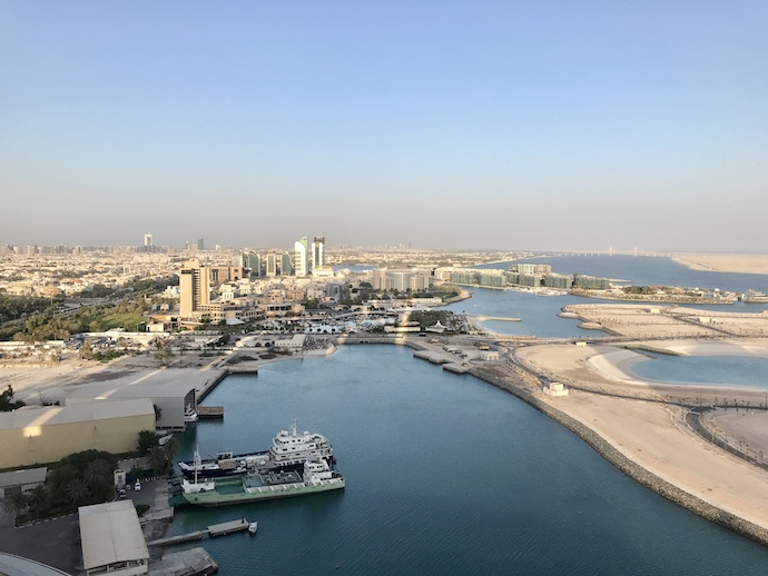 Room views at Grand Hyatt Abu Dhabi from the bed and balcony