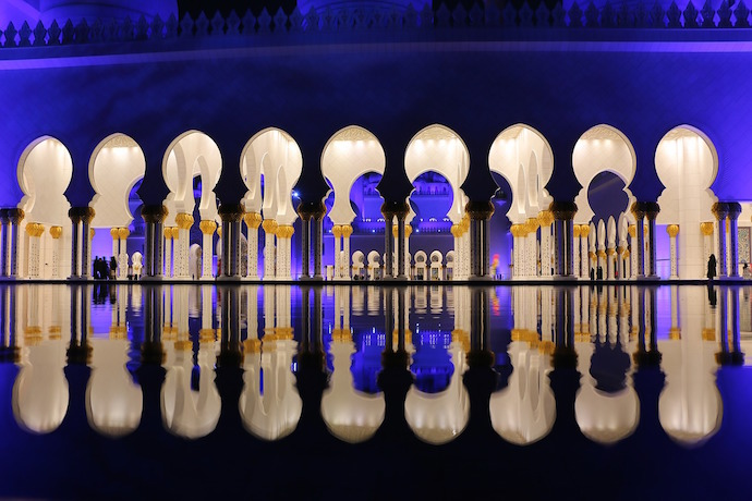 Sheikh Zayed Mosque at night blue colors