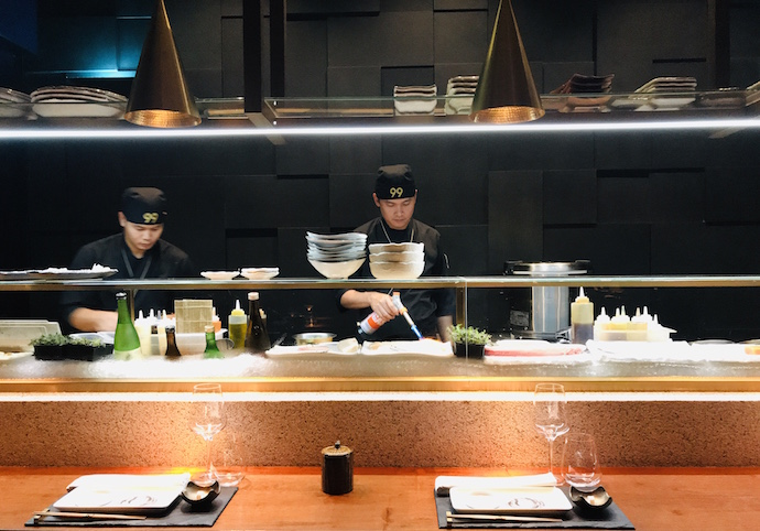 Open Kitchen At 99 Sushi Bar And Restaurant Abu Dhabi