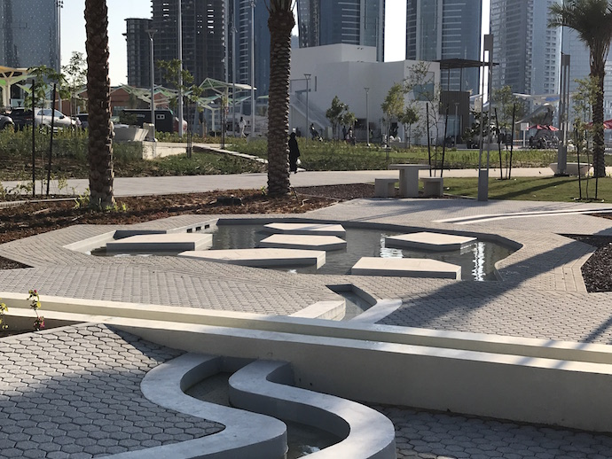 Water features and falajs at Reem Central Park Abu Dhabi