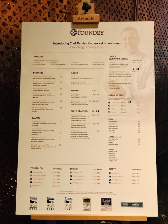 New Menu at The Foundry