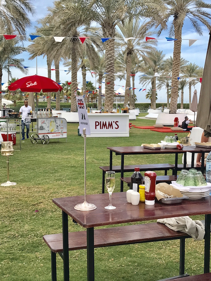 Picnic table at The Best of Blighty Brunch in Abu Dhabi Yas Hotel