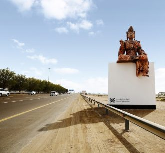 Reproduction of Louvre Abu Dhabi's Guanyin for Louvre Abu Dhabi's Highway Gallery, returning in 3D with voices from the UAE telling their stories