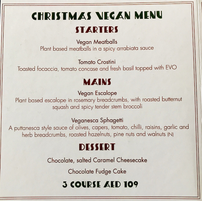 Carluccio Vegan Christmas Menu 2019